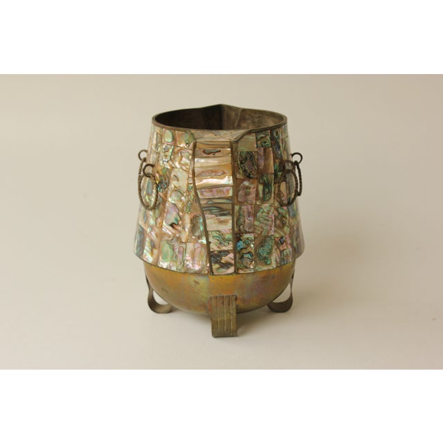 Mid 20th Century Salvador Teran Abalone Shell & Brass Pitcher For Sale - Image 5 of 7