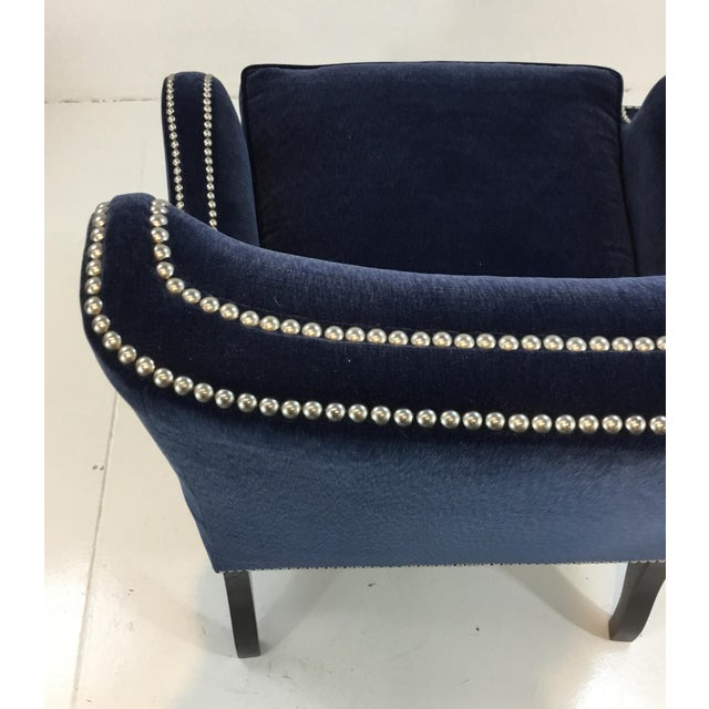 2010s Thomasville Blue Velvet Chandon Club Chair For Sale - Image 5 of 6