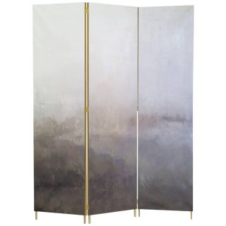 Grey Hand-Painted Brass Screen, Jan Garncarek For Sale
