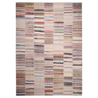 "Rug & Kilim's Patchwork Beige and Multi-Color Wool Kilim Rug-10'x13'11"" For Sale"