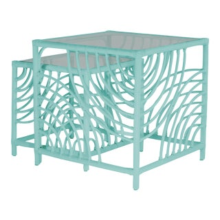 Swirl Nesting Tables - Turquoise For Sale