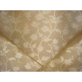 Scalamandre Serene Silk Champagne Damask Upholstery Fabric - 14 3/4 Yards For Sale