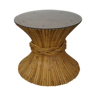 McGuire Sheaf of Wheat Bamboo Rattan Glass Table For Sale