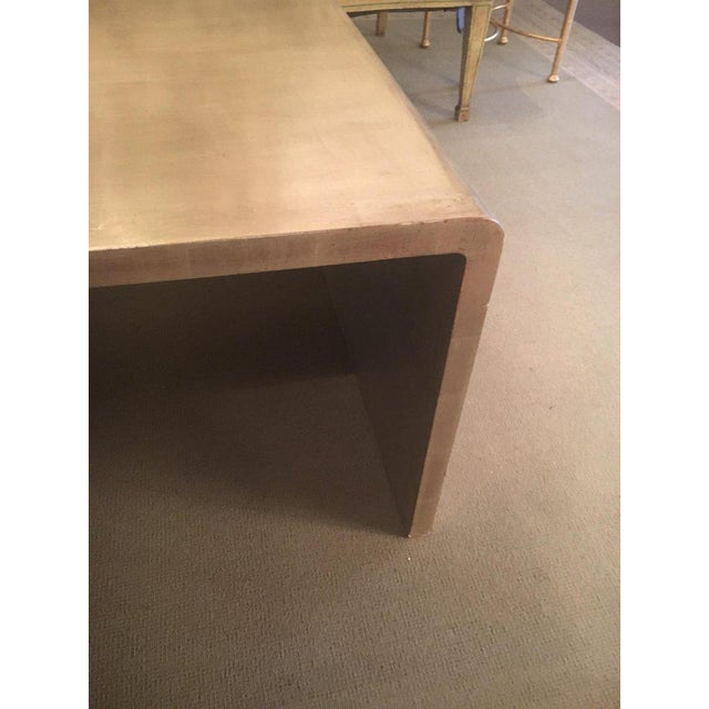 Mid 20th Century Waterfall Coffee Table With Silver Leaf Finish in the Style of Jean Michel Frank For Sale - Image 5 of 9