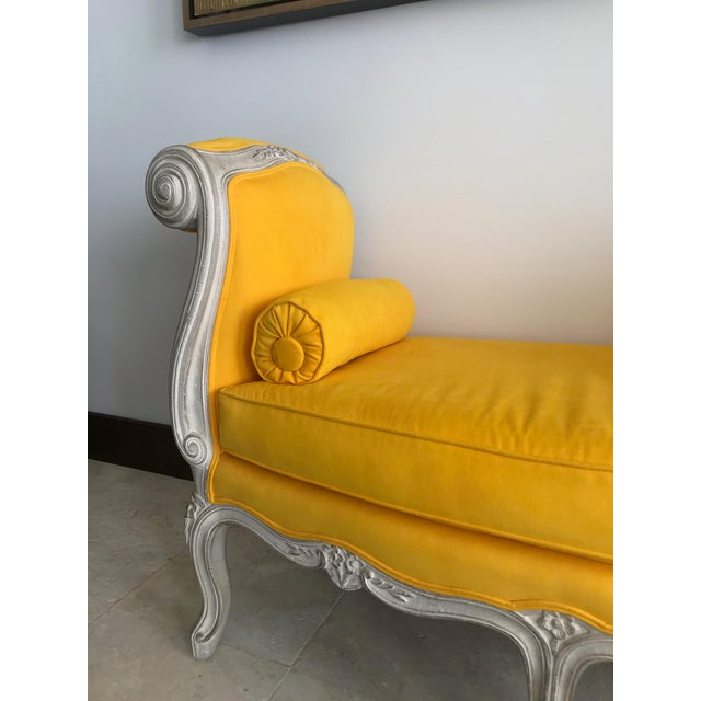 1900s Canary Yellow French Settee For Sale - Image 4 of 13