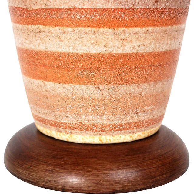Large Mid-Century Striped Pottery Lamp - Image 5 of 9