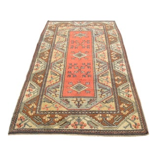 """Hand Knotted Rug Naturally Dyed Fine Milas Rug - 4'1"""" X 6'8"""" For Sale"""