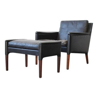 Kurt Østervig Leather Lounge Chair and Ottoman For Sale