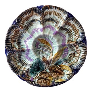 Antique Wasmuel Belgium Majolica Oyster Plate For Sale