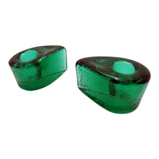 Vintage Blenko Chunky Emerald Green Candle Holders ~ a Pair For Sale