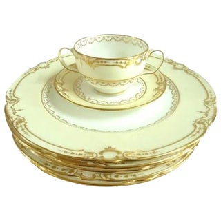 Antique Minton for Tiffany Set of Six Plates With Gilt & Six Bouillon Cups & Saucers C 1900 For Sale