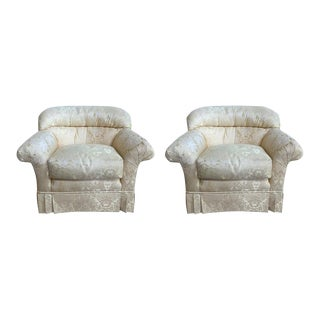 20th Century Upholstered Club Chairs in a Yellow Damask Fabric - a Pair For Sale