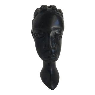 Petite Vintage Sculptural Carved African Bust For Sale