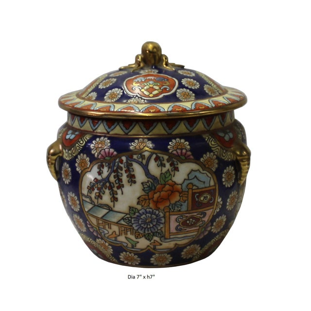 Chinese Oriental Porcelain Flower Scenery Container Box For Sale In San Francisco - Image 6 of 6