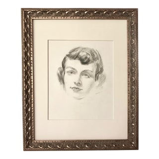 Vintage Mid Century Drawing Portrait of a Woman C. 1950 For Sale