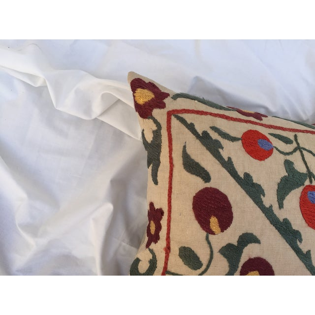 Antique Embroidered Turkish Suzani Pillow - Image 5 of 7