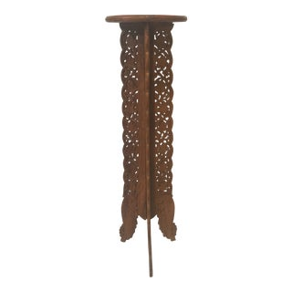 Mediterranean Hand Carved Rosewood Folding Pedestal/Stand For Sale