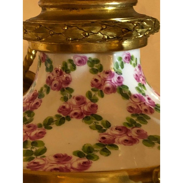 French Table Lamp Trellis Floral Porcelain Urn With Rams Head Gilt Bronze Mounts For Sale - Image 12 of 13