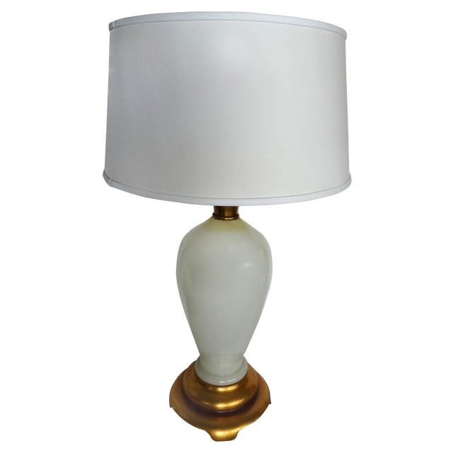 Opaline Glass Table Lamp With A Gilt-Wood Base For Sale