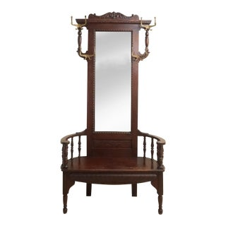 1910s Vintage Solid Oak Turn of the Century Hall Seat With Mirror For Sale