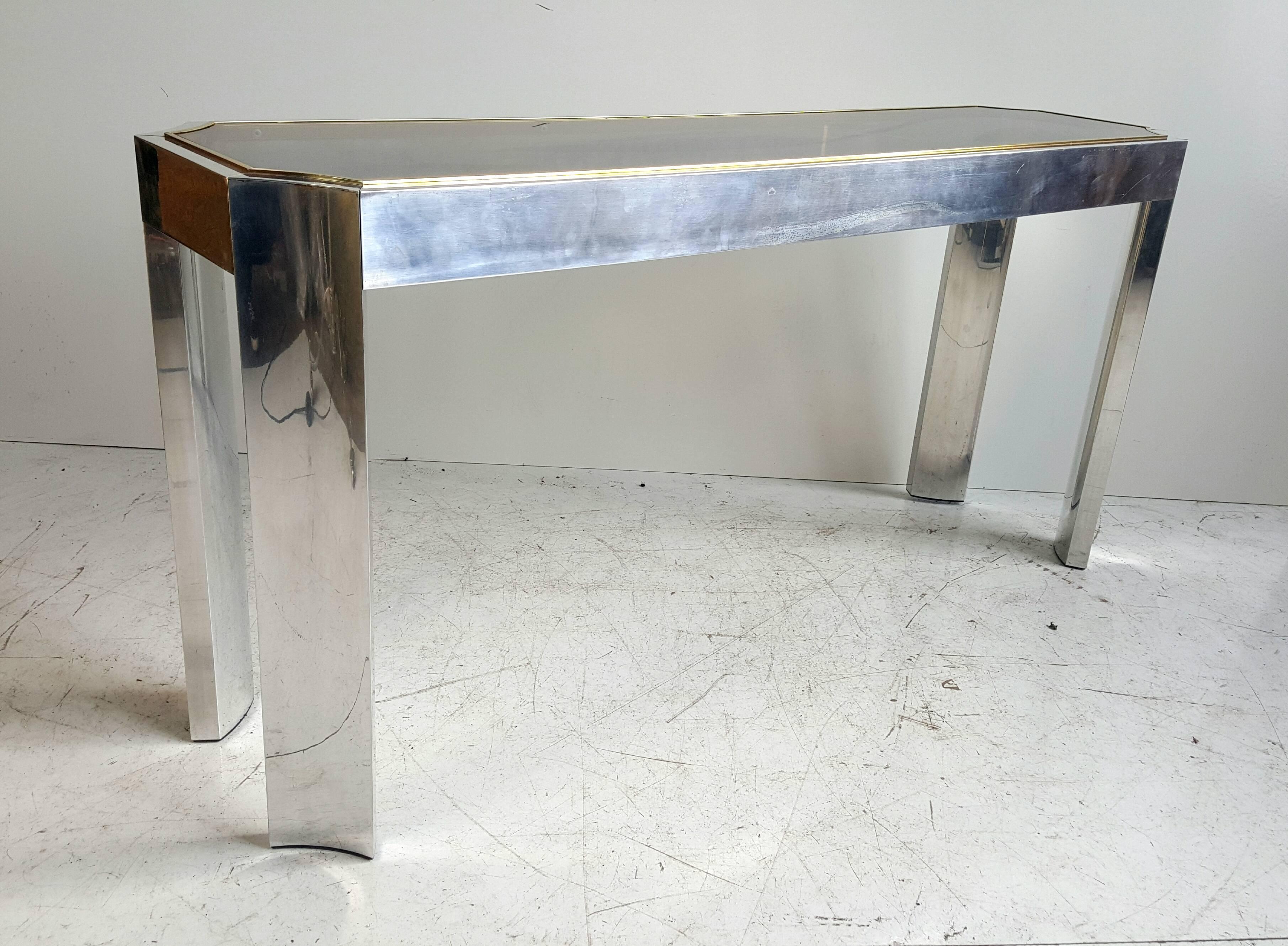 Elegant Aluminium Brass And Glass Console Sofa Table Chairish