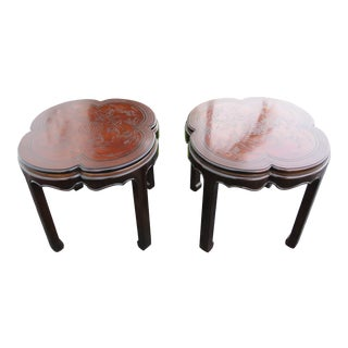 Drexel Heritage Hollywood Regency Pair of Carved Chinoiserie Side Tables 2347 For Sale