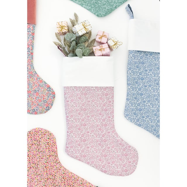Liberty of London D'Anjo Coast Pink Christmas Stocking with Velvet Cuff For Sale - Image 4 of 5