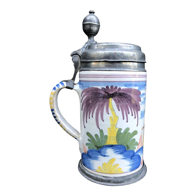 18th Century German Faience Polychrome Pewter-Mounted Tankard in Columnar Form For Sale