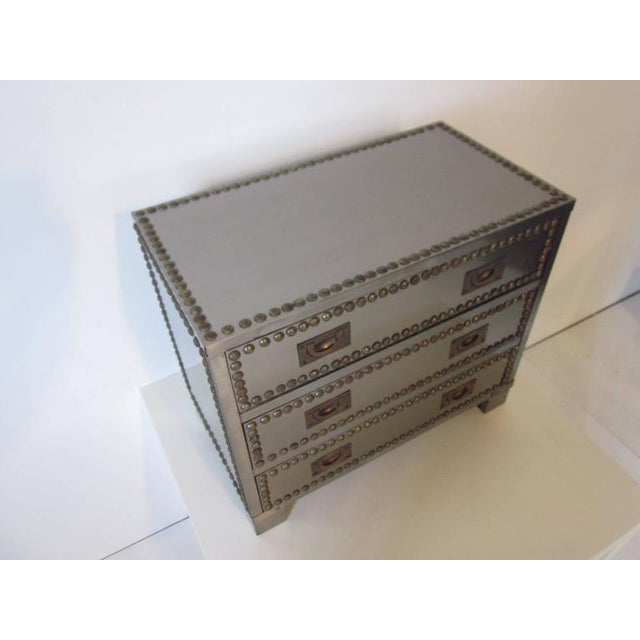 Industrial Stainless and brass Studded Jewelry Box For Sale - Image 3 of 8