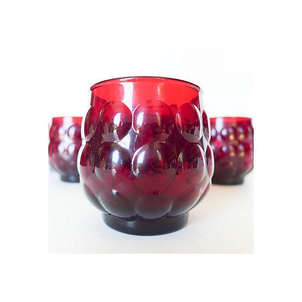 Mid-Century Ruby Red Glasses - Set of 8 - Image 4 of 8
