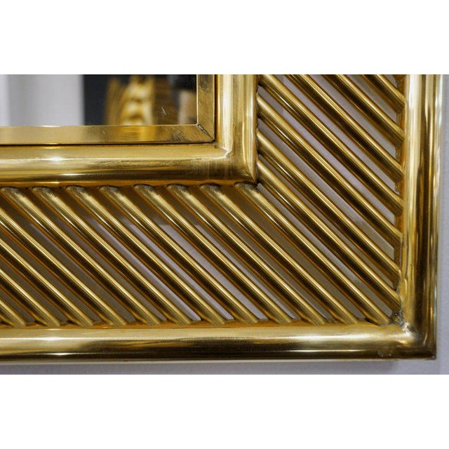 Contemporary Contemporary Minimalist Italian Gold Brass Mirror With Modern Baguette Fretwork For Sale - Image 3 of 6