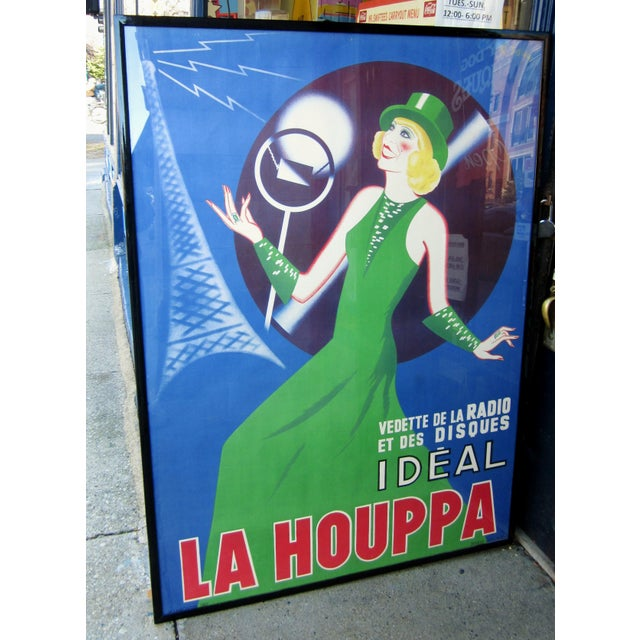 "1930s French Art Deco Original Lithograph Poster ""La Houppa"" French Actor & Songstress Radio Star 1930s Showgirl Figural Large Format Poster in Frame For Sale - Image 12 of 12"
