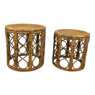 Tortoiseshell Bamboo Nesting Tables - A Pair