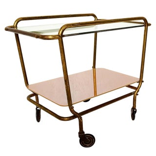 Mid-Century Modern Mexican Brass Service Cart For Sale