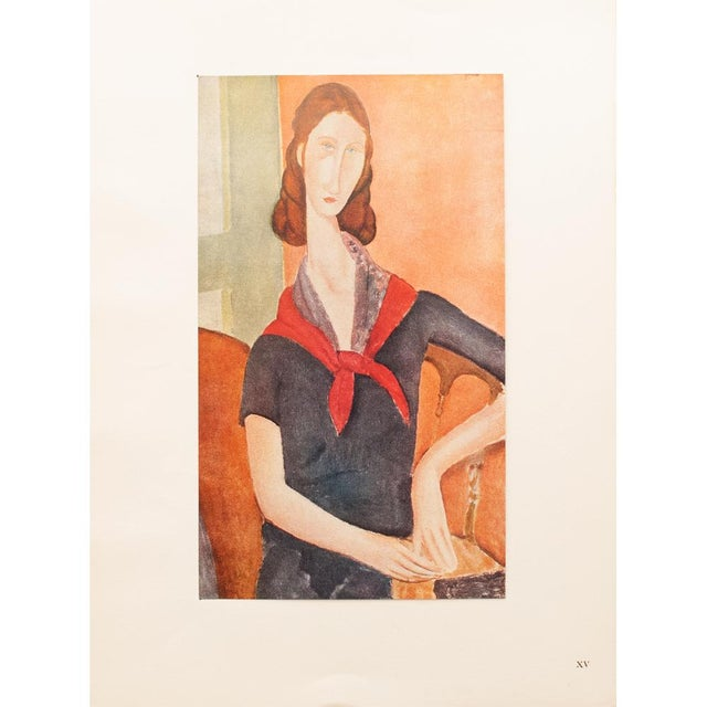 """Apricot 1947 Amedeo Modigliani """"Madame Hebuterne"""", First Editionl Parisian Lithograph For Sale - Image 8 of 8"""