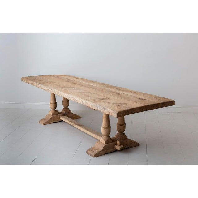 19th Century French Large Bleached Oak Provençal Style Trestle Table For Sale - Image 11 of 13