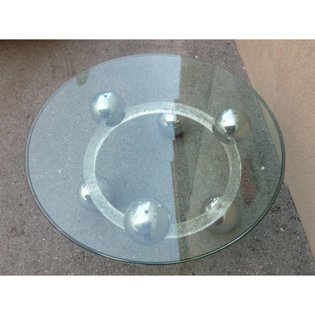 Chrome 70's Round Cracked Ice Lucite and Spaced Chrome Balls Coffee Table For Sale - Image 7 of 9