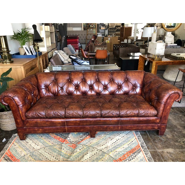 Vintage Cognac Brown Leather Chesterfield Sofa For Sale - Image 9 of 9