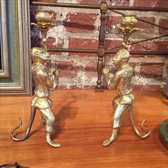 Pair of Gilt Bronze Monkey Candlesticks - Image 7 of 8