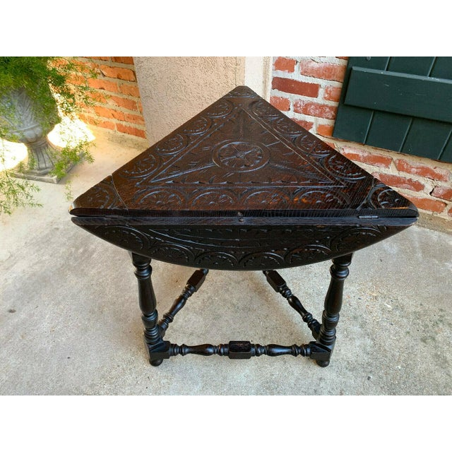 Brown Antique English Carved Oak Envelope Handkerchief Drop Leaf Round Table Corner For Sale - Image 8 of 13