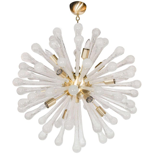 Clear Murano Glass Sputnik Chandelier with Brass Fittings For Sale - Image 9 of 9