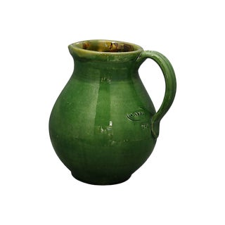 Antique French Green Glazed Pitcher For Sale