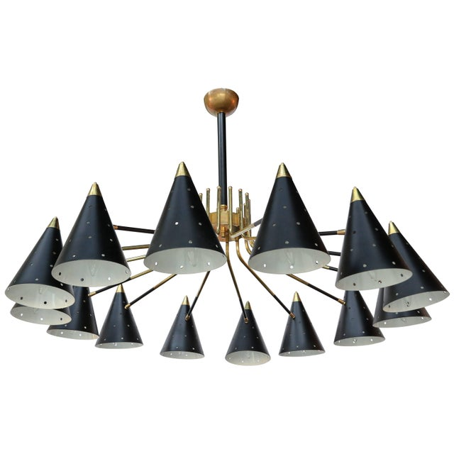 Midcentury Style Brass Chandelier With Black Perforated Shades For Sale - Image 9 of 9