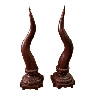 Maitland-Smith Bronze Cow Horns - A Pair For Sale