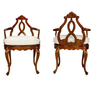 Pair Italian Biedermeier Hand-Carved Fruitwood Arm Chairs For Sale