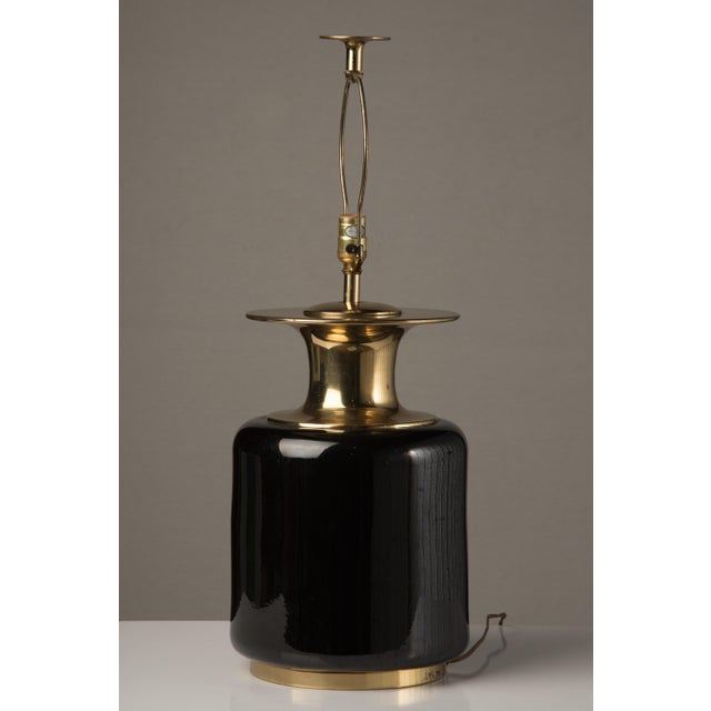 Mid-Century Modern 1980s Modern Chapman Black Ceramic and Brass Lamp For Sale - Image 3 of 7