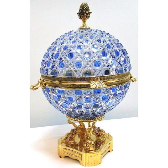 Monumental Crystal and 24k Caviar Bowl by Cristal Benito For Sale - Image 4 of 13