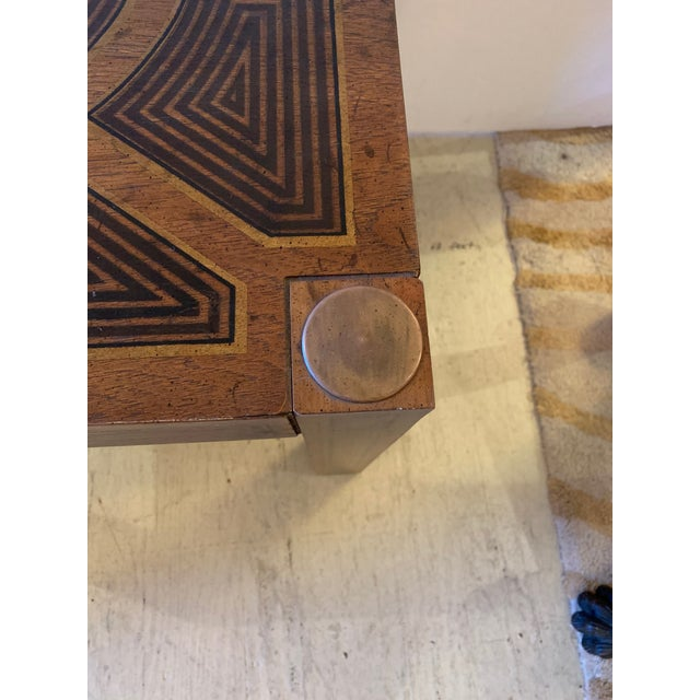 Inlaid Wood Rectangular End Table With Geometric Decoration For Sale - Image 9 of 13