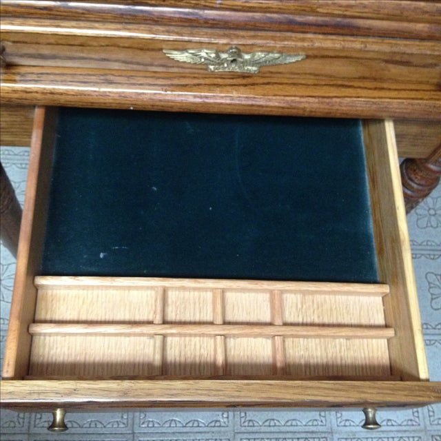 Brown Eagle Craft Oak Roll Top Secretary Desk For Sale - Image 8 of 11