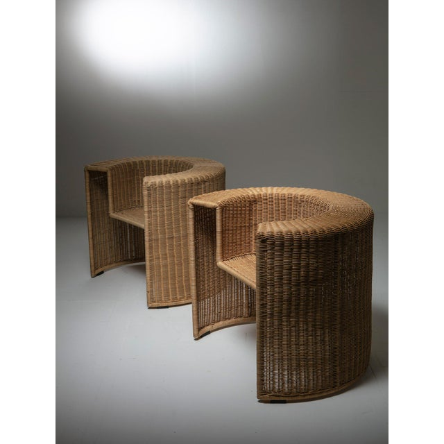 """Remarkable set of two """"Charlotte"""" chairs by Mario Botta for Horm. Sculptural cold shape contrasts with warm feeling of..."""